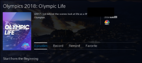 Olympic Life Programming with Episodes selected