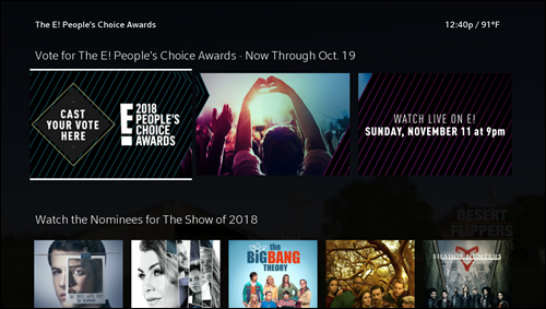 Cast Your Vote for People's Choice Awards app appears highlighted on left