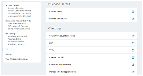 My Account > Settings tab - TV option at left.
