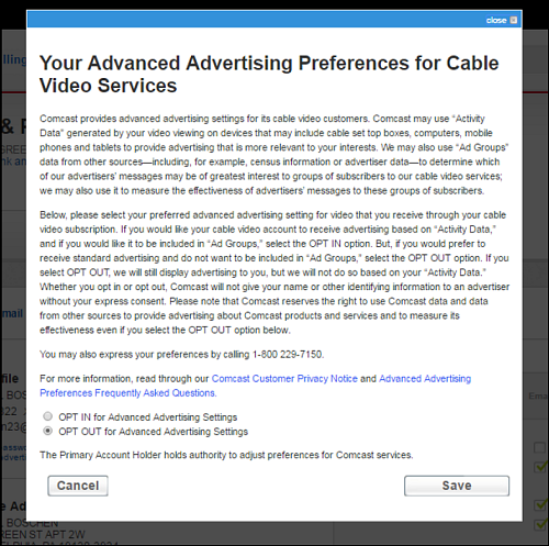 Your Advanced Advertising Preferences for Cable Video Services page - OPT OUt for Advanced Advertising Settings option is selected.