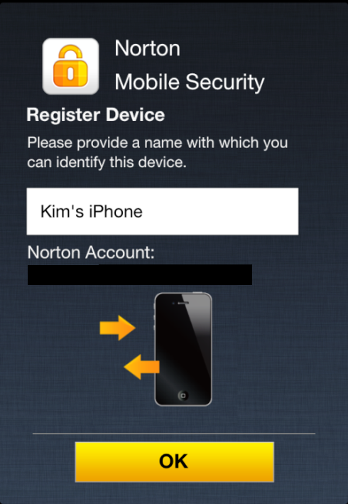Norton Mobile Security Register Device screen