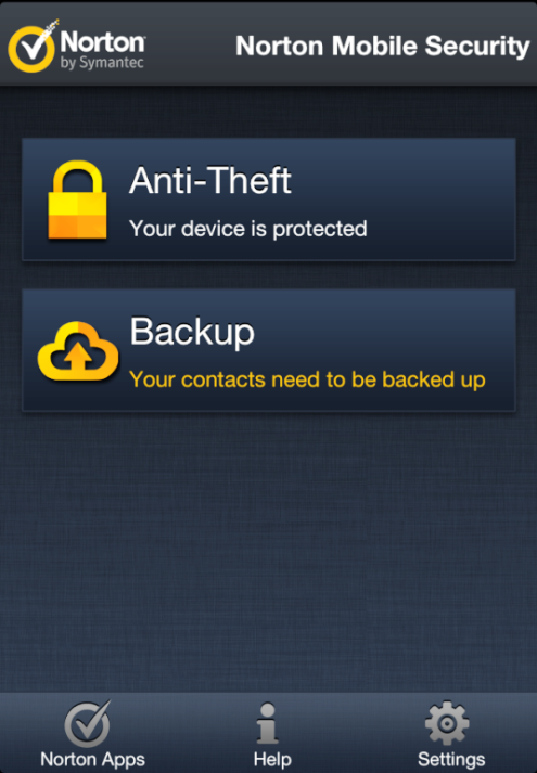 Norton Mobile Security Features screen