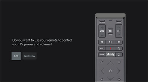 Do you want to use your remote to control your TV power and volume? message.