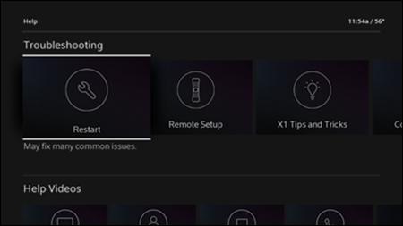 The XFINITY Help screen.