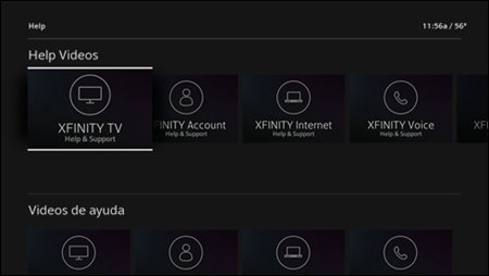 The XFINITY Help screen with the XFINITY TV Help & Support video selected.