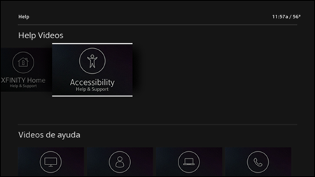The Help Videos screen with Accessibility Help & Support video selected.
