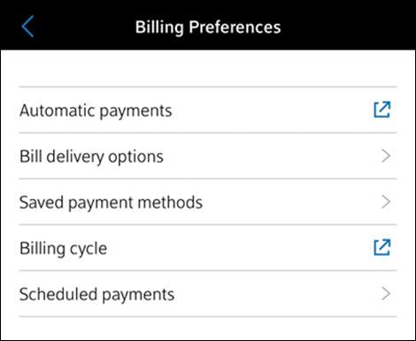 En Preferencias de facturación, Pagos automáticos es la primera opción que se muestra.