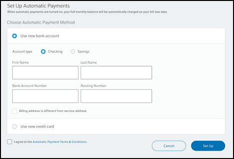 Set Up Automatic Payments screen with New Bank Account option selected