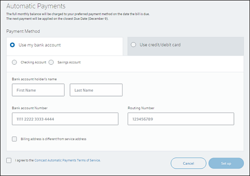 Automatic Payments screen - Payment Methods.