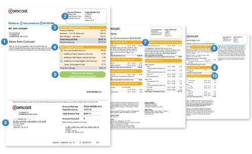 Imagen de páginas de facturas que muestra varias secciones de la factura.