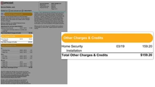 La imagen destaca la sección Otros cargos y créditos en la parte izquierda de la factura.