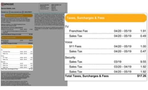 La imagen destaca la sección Impuestos, recargos y cargos en la parte izquierda de la factura.