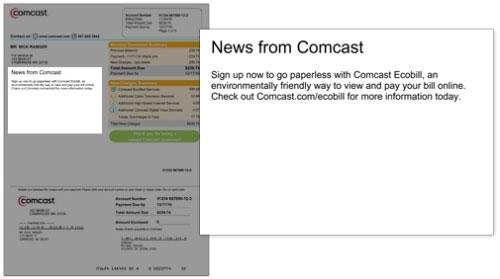 La factura muestra las últimas noticias de Comcast y mensajes sobre tu cuenta.