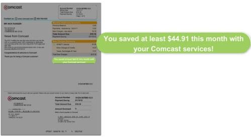 La imagen destaca el mensaje de ahorros en la parte derecha de la factura en Resumen de cargos nuevos.