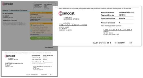 La imagen destaca la sección del comprobante de pago (por correo) en la parte inferior de la factura.