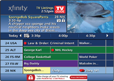 TV Listings screen displays TV shows with times and descriptions.