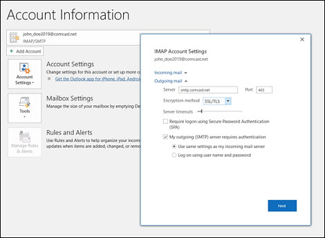 Email settings for Office 365.