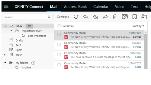 XFINITY Connect mailbox with emails that have the XFINITY logo next to them.