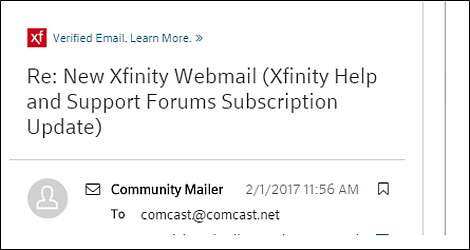 Email with XFINITY logo in upper-right corner, followed by Verified Email Learn more logo.
