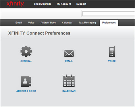 The XFINITY Connect preferences page.