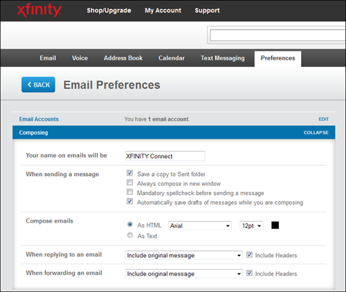 The Composing section of the XFINITY Connect Email Preferences menu.