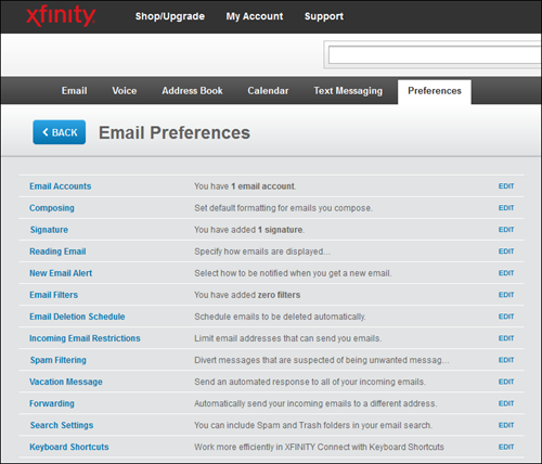 The XFINITY Connect Email Preferences menu.