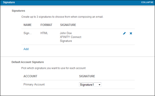 Signature settings in the XFINITY Connect Email Preferences menu.