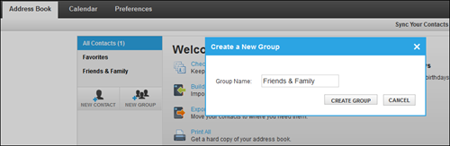 Address Book screen wwith a Create a New Group pop-up window.