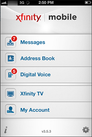"XFINITY Connect mobile app - the ""All"" screen"