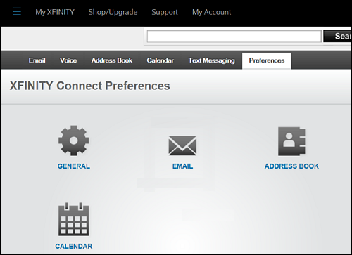 XFINITY Connect Preferences screen with Email icon at center.