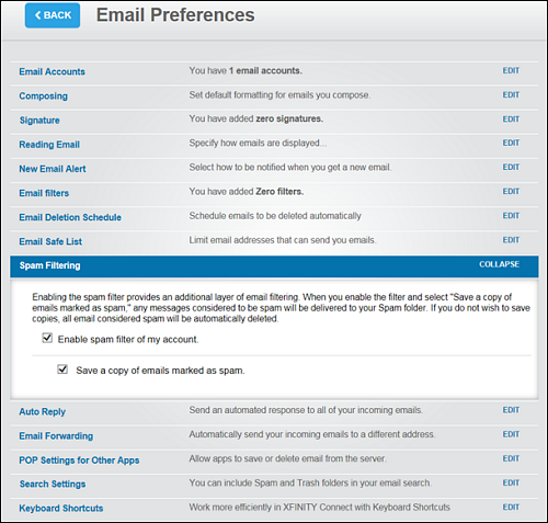 "Email Preferences screen with Spam Filtering option selected. Messaging reads: Enabling the spam filter provides an additional layer of email filtering. When you enable the filter and select ""Save a copy of emails marked as spam,"" any messages considered to be spam will be delivered to your Spam folder. If you do not wish to save copies, all emails considered spam will be automatically deleted."
