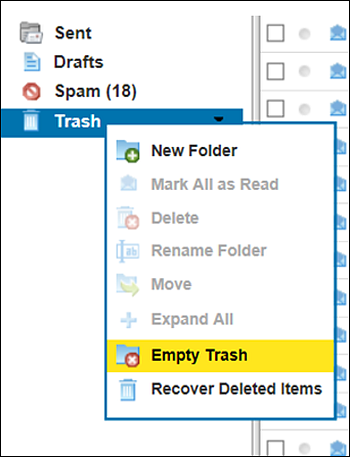In XFINITY Connect, the Trash folder is open and Empty Trash is selected.