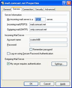 Configure Outlook Express Settings for Comcast Email