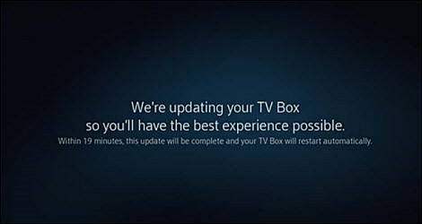 A screen informs the user that the TV Box will be updated over the next 19 minutes