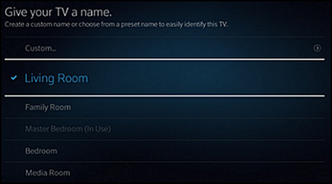 An option to name the TV after a number of household rooms is displayed
