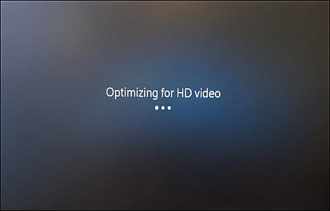 A screen informs the user that it is optimizing the HD video