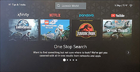 An X1 Tips & Tricks screen displays several popular movies, a search field, and a right arrow on the edge of the screen