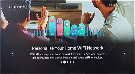 An X1 Tips & Tricks screen offers advice on personalizing a home network