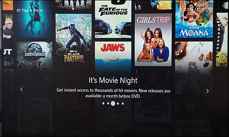 An X1 Tips & Tricks screen informs the user about their numerous movie choices