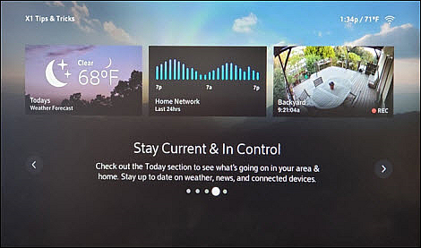 An X1 Tips & Tricks screen informs the user how to stay informed about local information