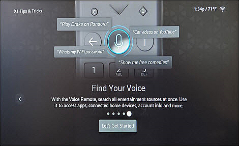 An X1 Tips & Tricks screen offers help on using a Voice Remote