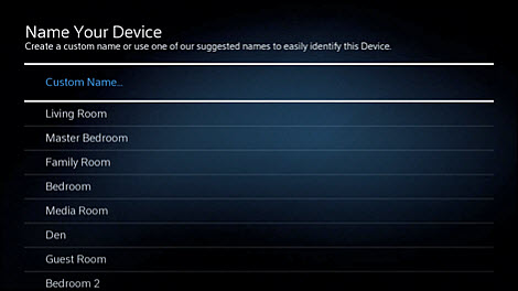 Name your device with a custom name or a suggested name from the list.
