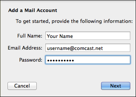 Configure Apple Mail 7 for Comcast Email