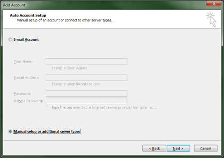 In the Auto Account Setup screen, the Manual setup or additional server types option is selected.