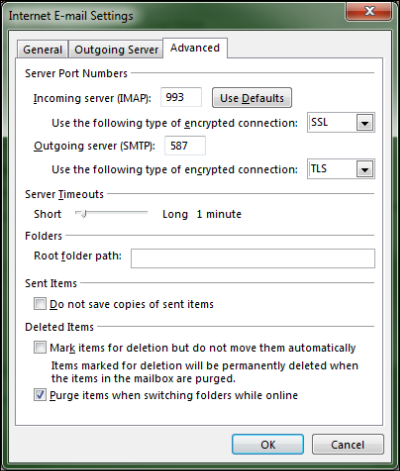 The Advanced tab of the Internet E-mail Settings screen is displayed and the Purge items when switching folders while online box is checked.