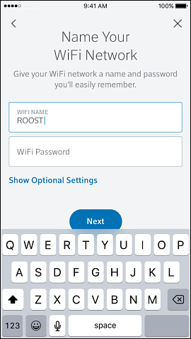 Enter your wifi name and password and select next
