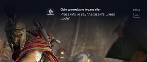 A caption for an in-game offer appears over the Assassin's Creed Odyssey video