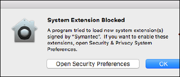 Open Security Preferences button on left