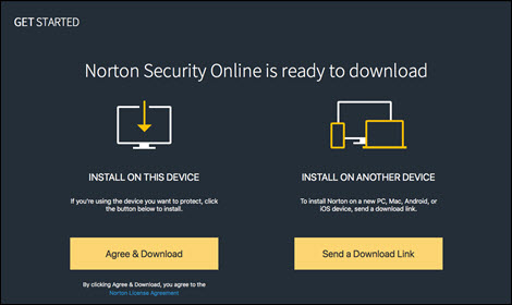 Choose to install Norton Security Online either locally or on another device