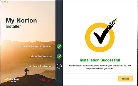 Click the Restart button in the bottom-right of the Installer to continue activating your protection.